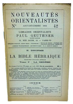 Ephemerides Orientalistes No. 42 - 1932 (French)