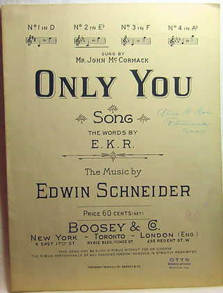 ONLY YOU SONG 1918