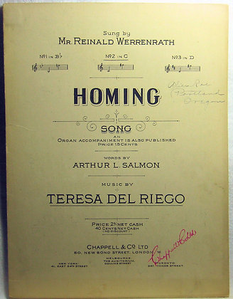 HOMING SONG 1917