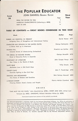 POPULAR EDUCATOR (#20 Third Year 1940) CHARACTER & OPINION IN THE U.S.