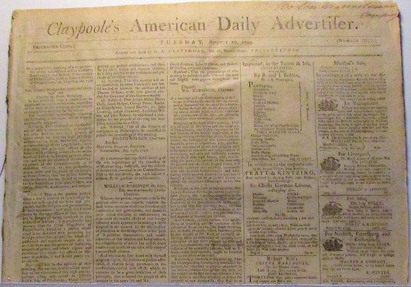 CLAYPOOLE'S AMERICAN DAILY ADVERTISER Aug. 20, 1799 Philadelphia Newspaper Rare
