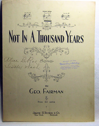 NOT IN A THOUSAND YEARS 1919