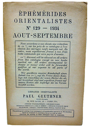 Ephemerides Orientalistes No. 129 - 1934 (French)