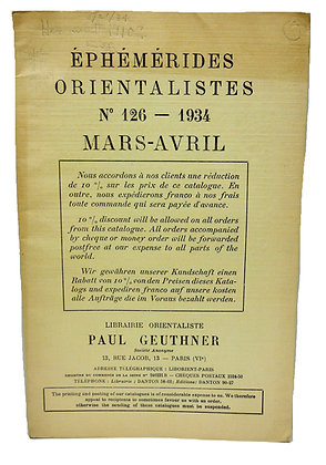 Ephemerides Orientalistes No. 126 - 1934 (French)