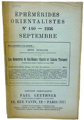Ephemerides Orientalistes No. 140 - 1936 (French)