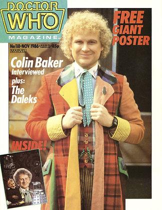 Doctor Who Magazine #118 (Nov. 1986) British Television