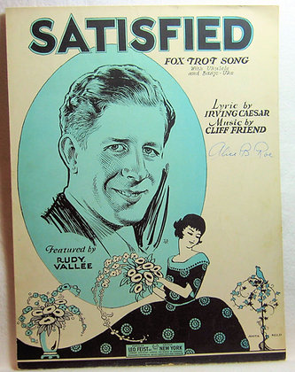 SATISFIED Fox Trot Song (Ukulele & Banjo-Uke) 1929