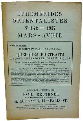 Ephemerides Orientalistes No. 142 - 1937 (French)