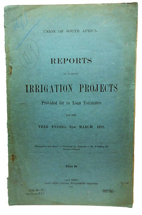 Irrigation Projects Cape Town Africa 1918