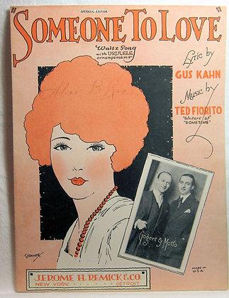 SOMEONE TO LOVE Waltz Song (Ukulele) 1925