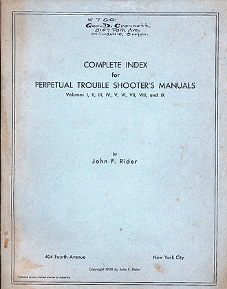 Perpetual Trouble Shooter's Manuals (Radio) 1938