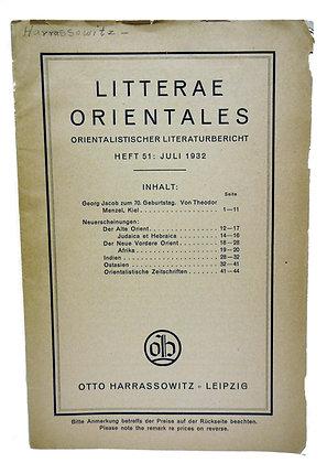 Litterae Orientales Orientalistischer 1932 (German)