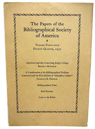 Bibliographical Society America Papers (Vol. 44, 4th Qtr.) 1950