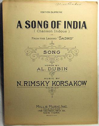 A SONG OF INDIA AL. DUBIN 1924
