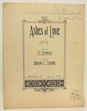 Ashes of Love Song DEMPSEY 1913