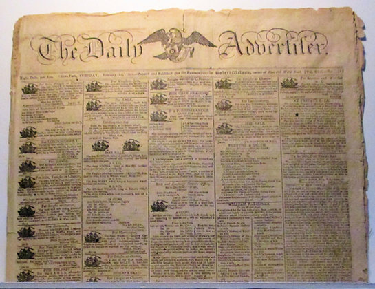 THE DAILY ADVERTISER Feb. 10, 1801 New York Newspaper (Ships for Sale) Rare