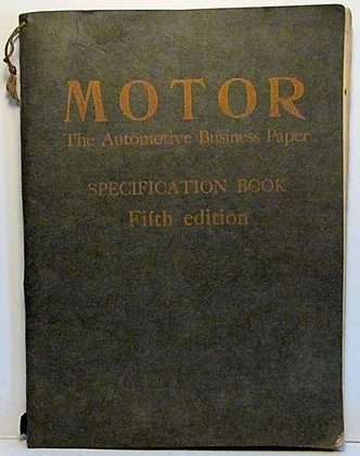 MOTOR Automotive Business Paper SPECIFICATION BOOK (Fifth Ed.) 1928