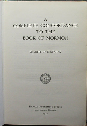 Complete CONCORDANCE to The Book of Mormon 1950
