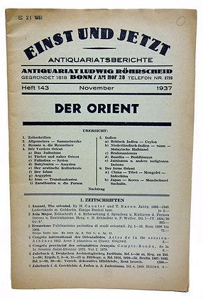 Einst Und Jetzt Antiquariatsberichte 1937 (German)