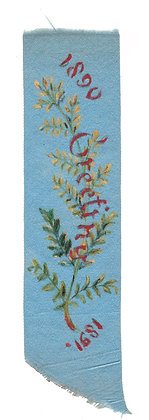 Blue Floral Silk Greeting Ribbon 1890 - 1891