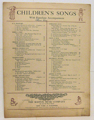 A Life Lesson CHILDREN'S SONGS (Pianoforte) 1898