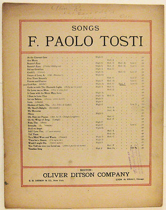 GOOD-BYE Songs F. Paolo Tosti 1905