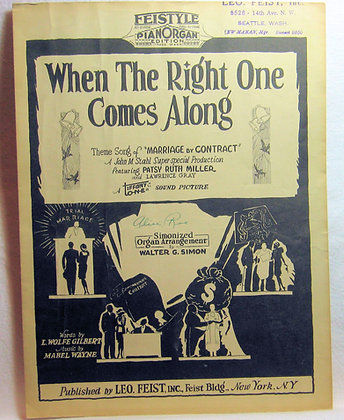 When The Right One Comes Along 1928