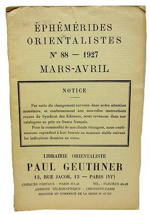 Ephemerides Orientalistes No. 88 - 1927 (French)