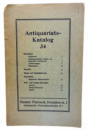 Antiquariats-Katalog 34, Gustav Pietzsch (German)
