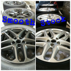 Ford Fusion stock wheels plastidip to matte black!  Done professionally its smooth with lots of coat