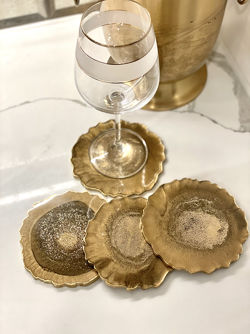 Golden Palm Agate Coasters.