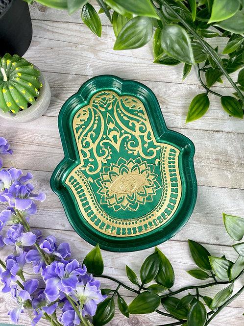 Emerald Hamsa Dish