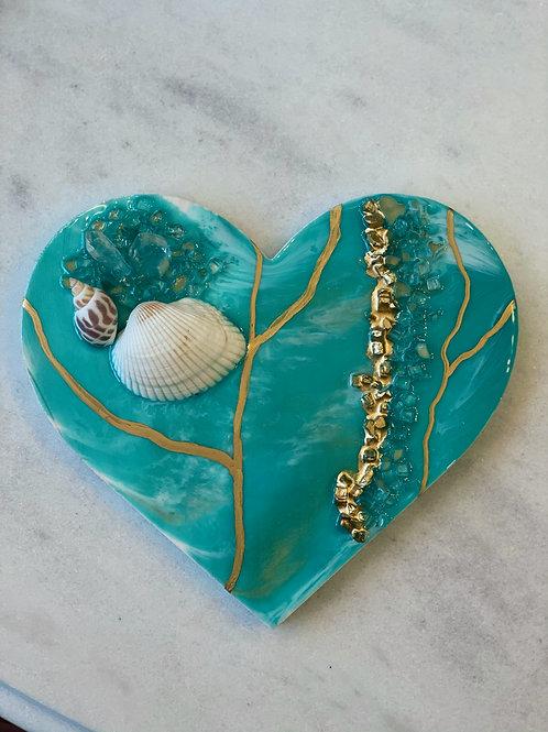 Caribbean Crystal Ocean Heart Plaque