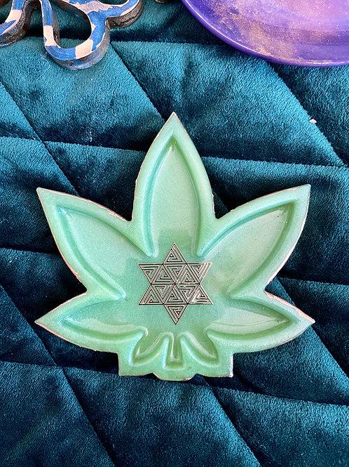 Perisan Green Cannabis Trinket Dish
