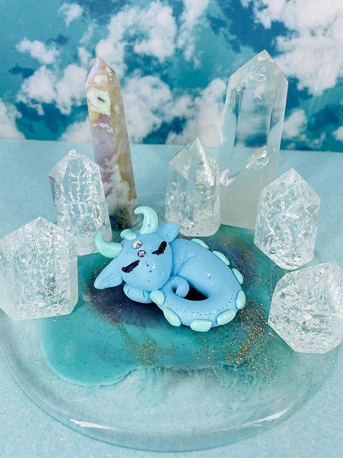 Sky Blue Sleeping Crystal Dragon