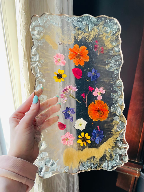 Rose Gold Glowing Flower Coaster