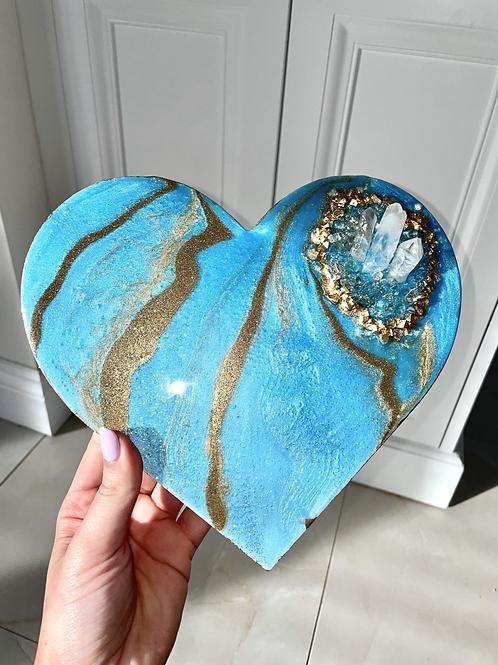 Aura BlueCrystal Heart Plaque