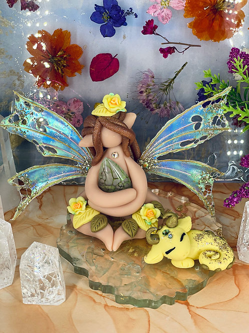 Dragon Scale Fairy Elf and Sleeping Yellow Dragon