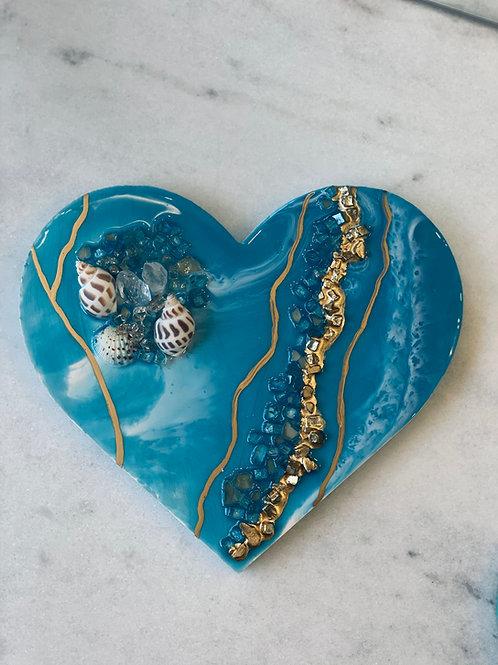 Atlantic Crystal Ocean Heart Plaque