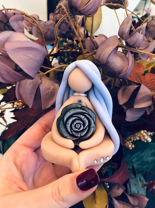 Silver Sheen Obsidian Flower Goddess