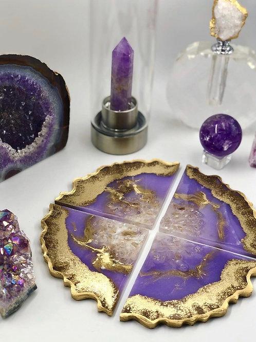 Amethyst Crystal Geode Coasters