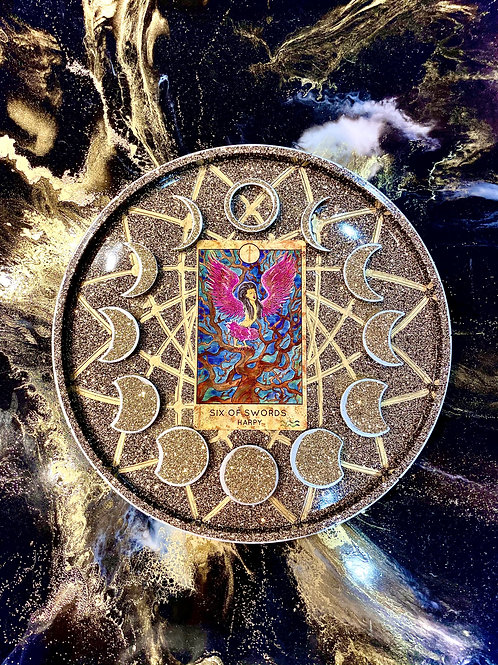 Moon Cycle Crystal Tarot Charging Tray in Black, Gold & Silver