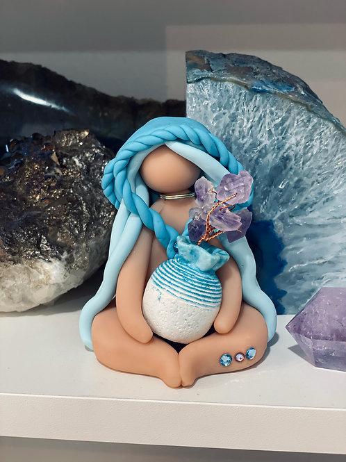 Blue Amethyst Flower Pot Cloaked Goddess