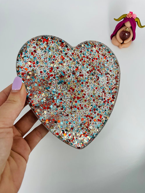 Red Blue and Gold Heart Plate