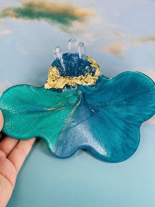Crystal Cloud Tri Blue Coaster