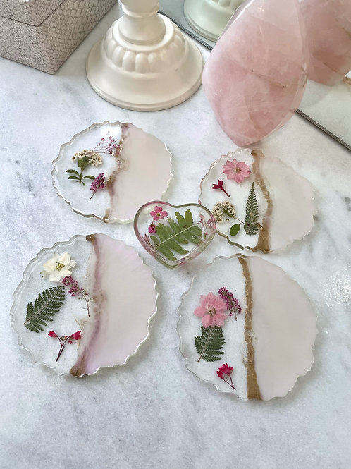 Springtime Selenite Floral Coaster Set