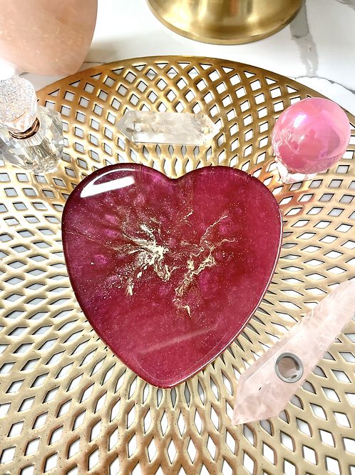 Magenta Heart Plate with Rose Quartz