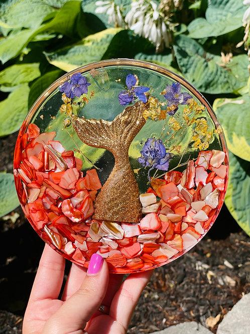 Golden Amethyst Crystal Mermaid Fin Coaster