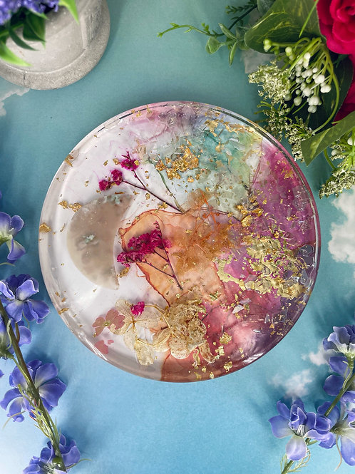 Crescent Moon Floating Floral Crystal Coaster
