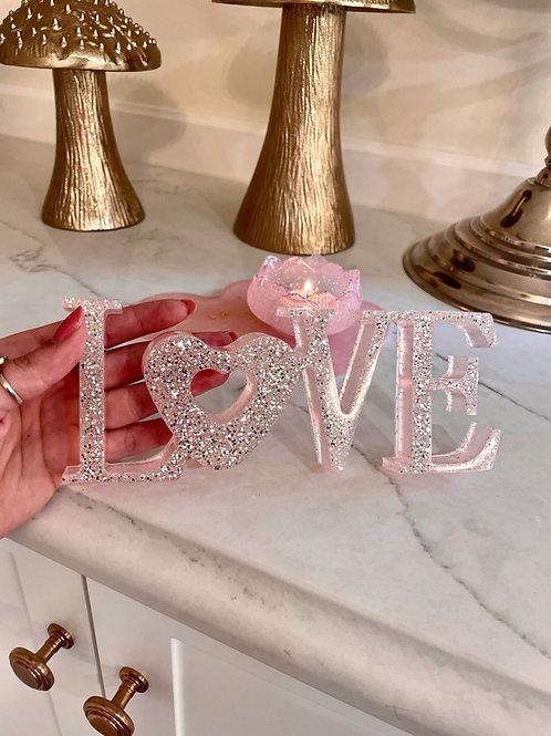 Rose Quartz Glittering Love Sign